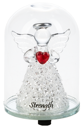 Glass dome light up angel - Strength