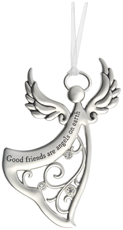 Good friends are angels on earth - zinc ornament