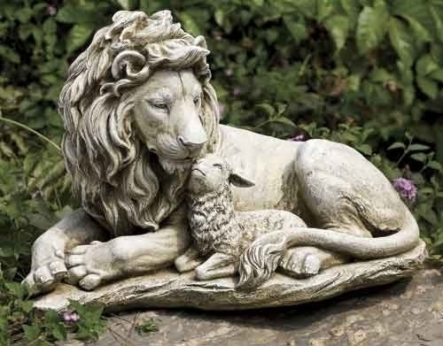 The Lion and the Lamb garden statue