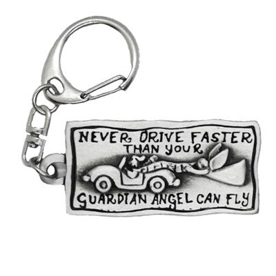 Never drive faster than your guardian angel can fly rectangle keychain