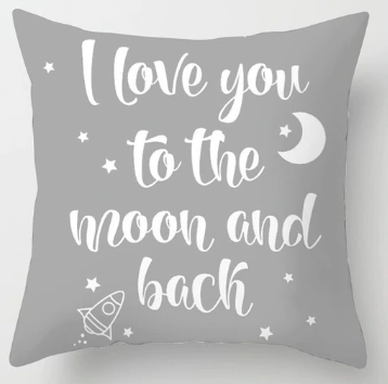 Love you to the Moon and Back - pillow (gray)