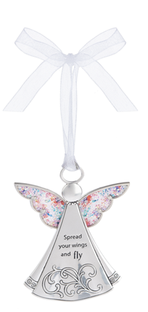 Spread your wings and fly - sparkle zinc ornament