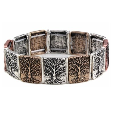 Trees tri-colour metal stretch bracelet