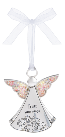 Trust your wings - sparkle zinc ornament