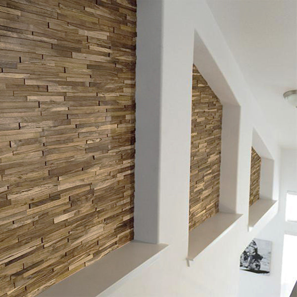 3D Stacked Natural Walnut Walling