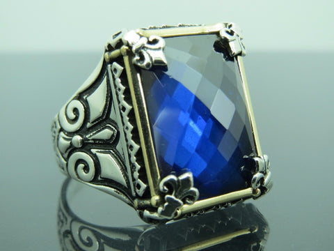 Turkish Handmade Jewelry 925 Sterling Silver Sapphire Stone Men Ring