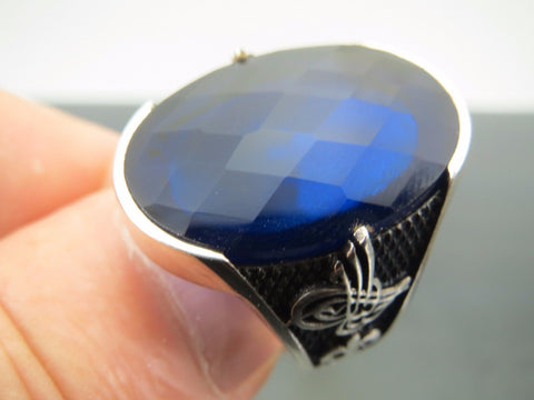 Turkish Handmade Jewelry 925 Sterling Silver Sapphire Stone Men's Ring