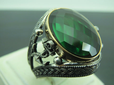 Turkish Handmade Jewelry 925 Sterling Silver Emerald Stone Men's Ring