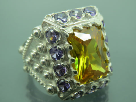 Turkish Handmade Jewelry 925 Sterling Silver Citrine Stone Men's Ring Sz 11
