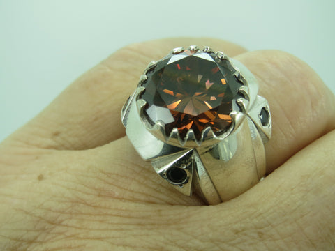 Turkish Handmade Jewelry 925 Sterling Silver Brown Zircon Stone Men's Ring Sz 11