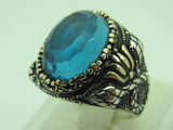 Turkish Handmade Jewelry 925 Sterling Silver Aquamarine Stone Men Ring