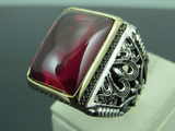 Turkish Handmade Jewelry 925 Sterling Silver Ruby Stone Men's Ring