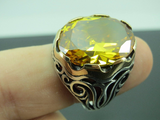 Turkish Handmade Jewelry 925 Sterling Silver Citrine Stone Men's Ring