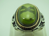 Turkish Handmade Jewelry 925 Sterling Silver Peridot Stone Men Ring