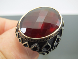Turkish Handmade Jewelry 925 Sterling Silver Garnet Stone Men Ring