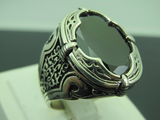 Turkish Handmade Jewelry 925 Sterling Silver Onyx Stone Men's Ring