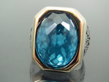 Turkish Handmade Jewelry 925 Sterling Silver Aquamarine Stone Men's Ring