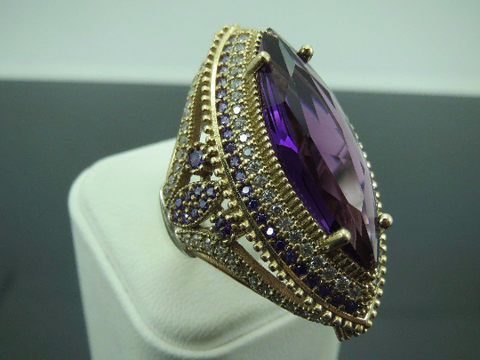 Turkish Handmade Jewelry 925 Sterling Silver Amethyst Stone Ladies' Ring