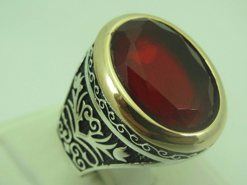 Turkish Handmade Jewelry 925 Sterling Silver Garnet Stone Men's Ring