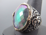 Turkish Handmade Jewelry 925 Sterling Silver Rainbow Stone Men's Ring