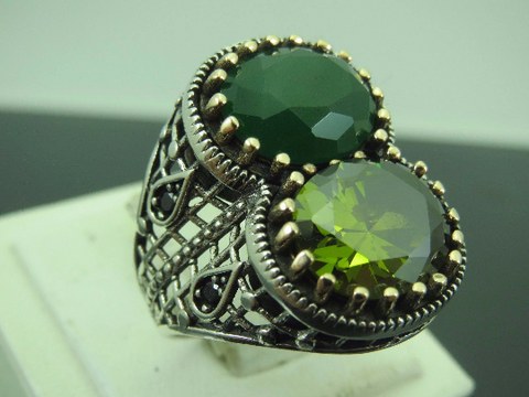 Turkish Handmade Jewelry 925 Sterling Silver Emerald & Peridot Stone Men's Ring