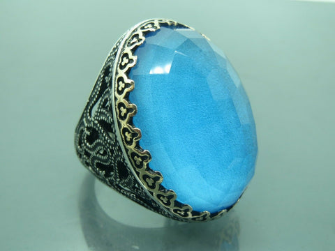 Turkish Handmade Jewelry 925 Sterling Silver Aquamarine Stone Men's Ring Sz 12