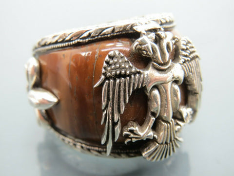 Turkish Handmade Jewelry 925 Sterling Silver Tiger's Eye Stone Men's Ring Sz 10
