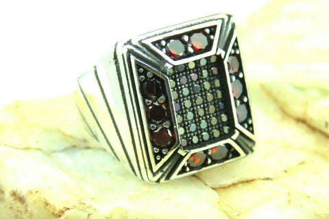 Turkish Handmade Jewelry 925 Sterling Silver Garnet Stone Men Ring Sz 9