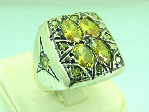 Turkish Handmade Jewelry 925 Sterling Silver Citrine Stone Men's Ring Sz 10