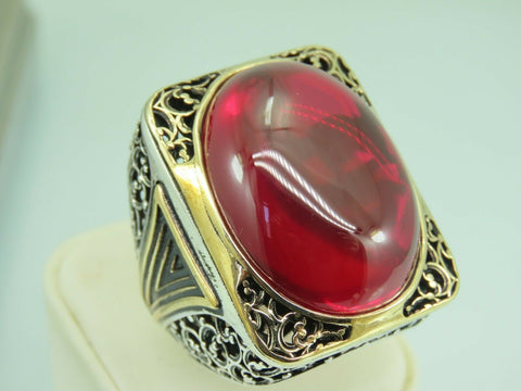 Turkish Handmade Jewelry 925 Sterling Silver Ruby Stone Men's Ring Sz 11