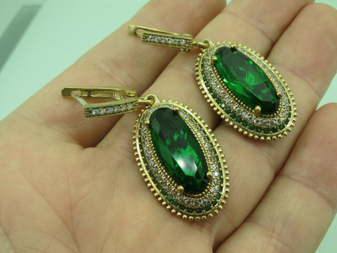Turkish Handmade Jewelry 925 Sterling Silver Emerald Stone Women Earrings
