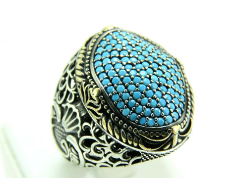 Turkish Handmade Jewelry 925 Sterling Silver Emerald Stone Men's