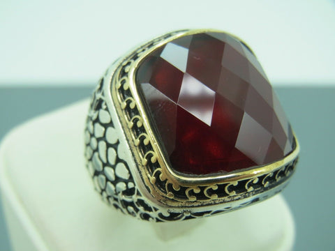 Turkish Handmade Jewelry 925 Sterling Silver Ruby Stone Men's Ring Sz 10