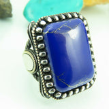 Turkish Handmade Jewelry 925 Sterling Silver Lapis Stone Men Ring Sz 12