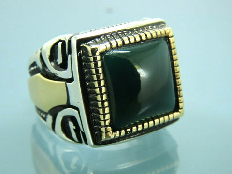 Turkish Handmade Jewelry 925 Sterling Silver Agate Stone Men Ring Sz 10