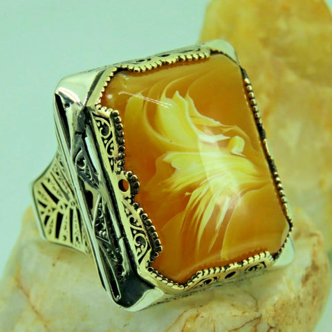 Turkish Handmade Jewelry 925 Sterling Silver Amber Stone Men Ring Sz 11