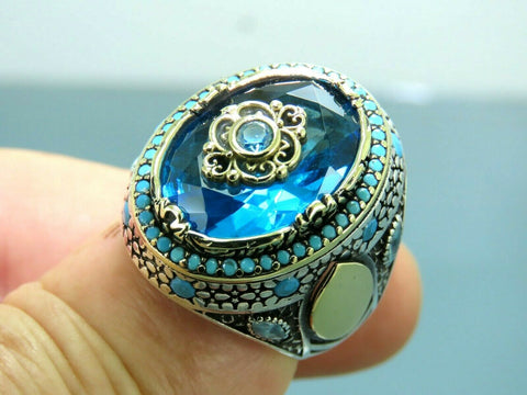 Turkish Handmade Jewelry 925 Sterling Silver Aquamarine Stone Men Ring Sz 11