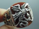 Turkish Handmade Jewelry 925 Sterling Silver Agate Stone Men Ring
