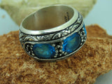 Turkish Handmade Jewelry 925 Sterling Silver Aquamrine Stone Men Ring Sz 9