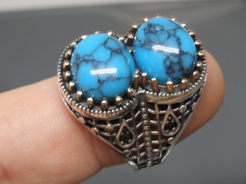 Turkish Handmade Jewelry 925 Sterling Silver Turquoise Stone Men's Ring