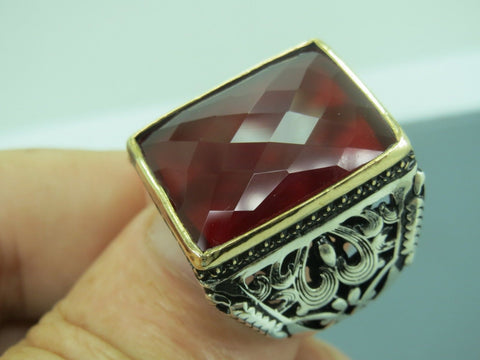 Turkish Handmade Jewelry 925 Sterling Silver Garnet Stone Men Ring Sz 11