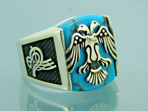 Turkish Handmade Jewelry 925 Sterling Silver Turquoise Stone Men Ring Sz 10