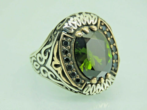 Turkish Handmade Jewelry 925 Sterling Silver Peridot Stone Men Ring Sz 10