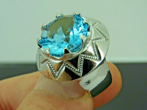 Turkish Handmade Jewelry 925 Sterling Silver Aquamarine Stone Men's Ring Sz 10