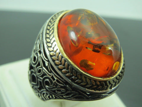 Turkish Handmade Jewelry 925 Sterling Silver Amber Stone Men's Ring