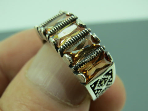 Turkish Handmade Jewelry 925 Sterling Silver Quartz Stone Men's Ring Sz 10