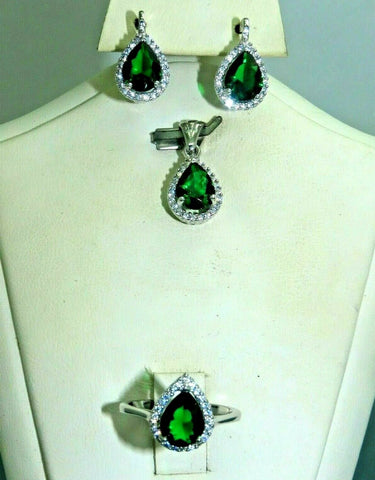Turkish Handmade Jewelry 925 Sterling Silver Emerald Stone Women Earring Set