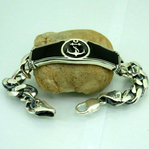 Turkish Handmade Jewelry 925 Sterling Silver Onyx Stone Men Bracelet