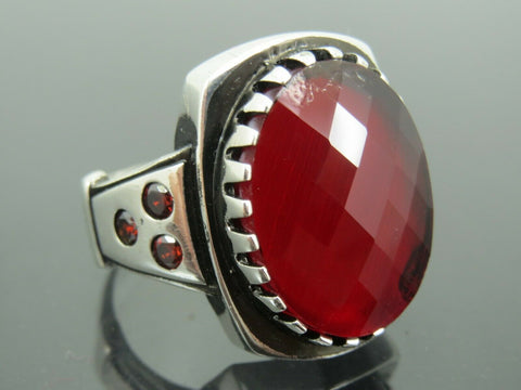 Turkish Handmade Jewelry 925 Sterling Silver Ruby Stone Men Ring Sz 11