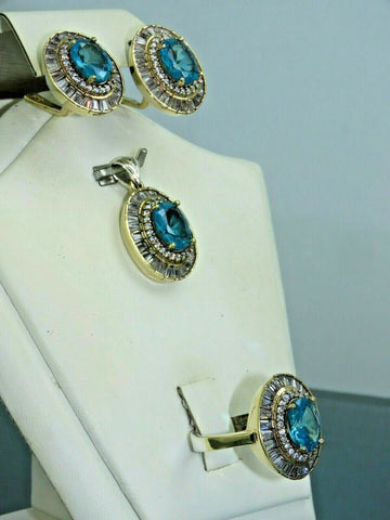 Turkish Handmade Jewelry 925 Sterling Silver Aquamarine Stone Women Earring Set